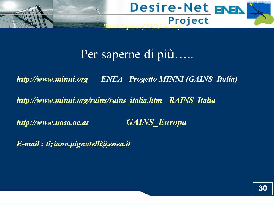 30 Per saperne di pi ù….. Health Impact of PM2,5 in Italy http://www.minni.org ENEA Progetto MINNI (GAINS_Italia) http://www.minni.org/rains/rains_ita