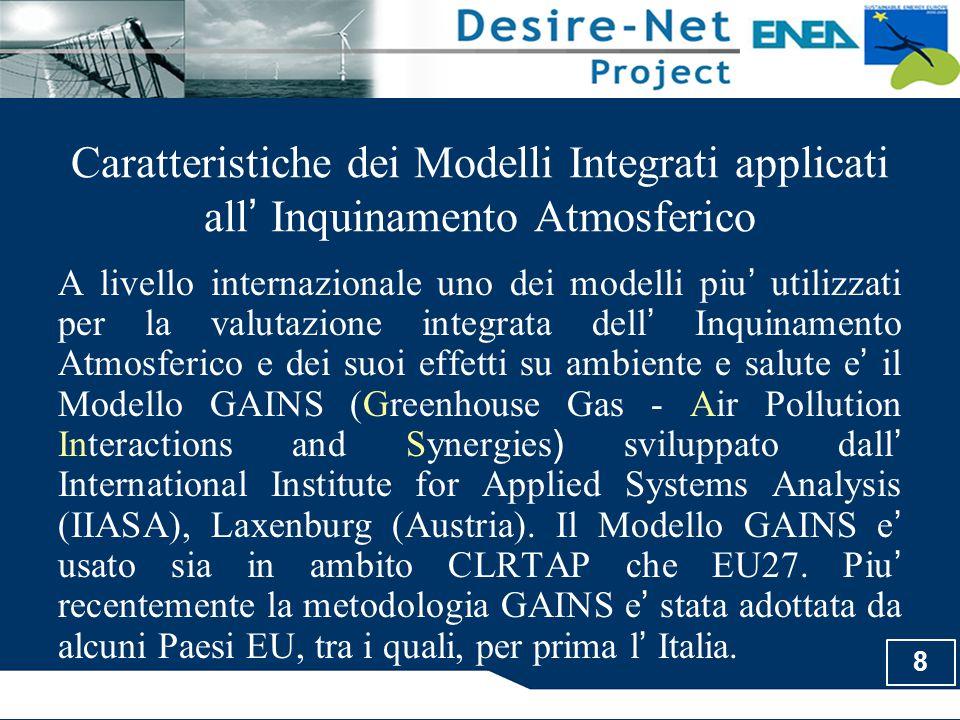 8 Caratteristiche dei Modelli Integrati applicati all ' Inquinamento Atmosferico A livello internazionale uno dei modelli piu ' utilizzati per la valu