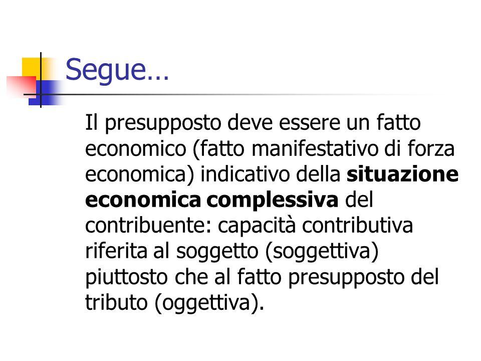Segue… Il presupposto deve essere un fatto economico (fatto manifestativo di forza economica) indicativo della situazione economica complessiva del co