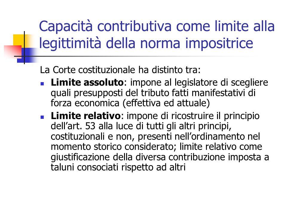 Capacità contributiva come limite alla legittimità della norma impositrice La Corte costituzionale ha distinto tra: Limite assoluto: impone al legisla