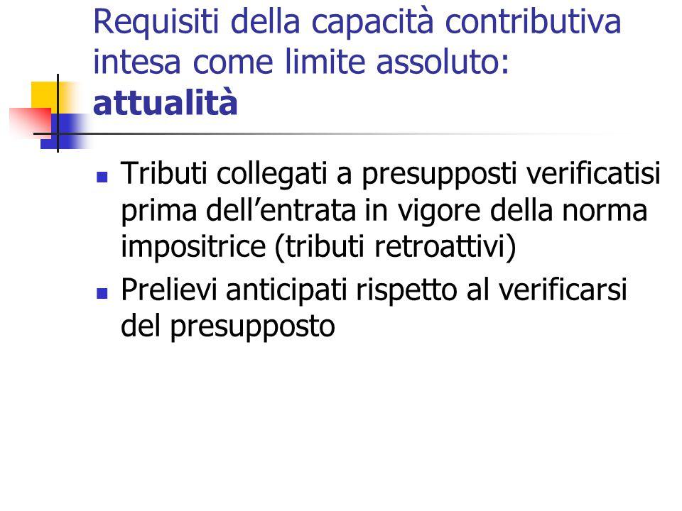 Requisiti della capacità contributiva intesa come limite assoluto: attualità Tributi collegati a presupposti verificatisi prima dell'entrata in vigore