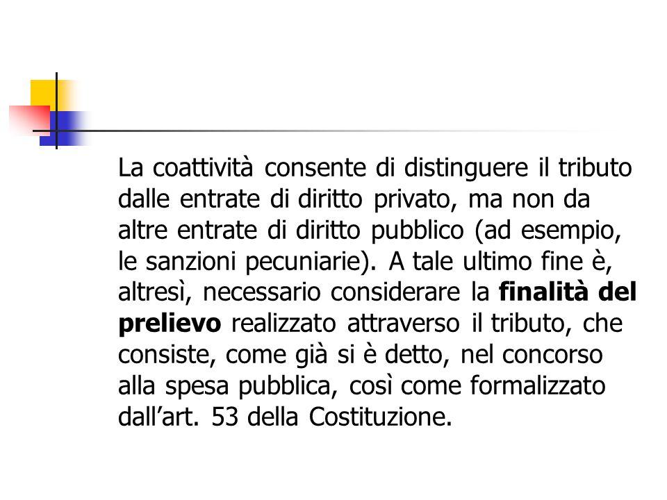 La coattività consente di distinguere il tributo dalle entrate di diritto privato, ma non da altre entrate di diritto pubblico (ad esempio, le sanzion