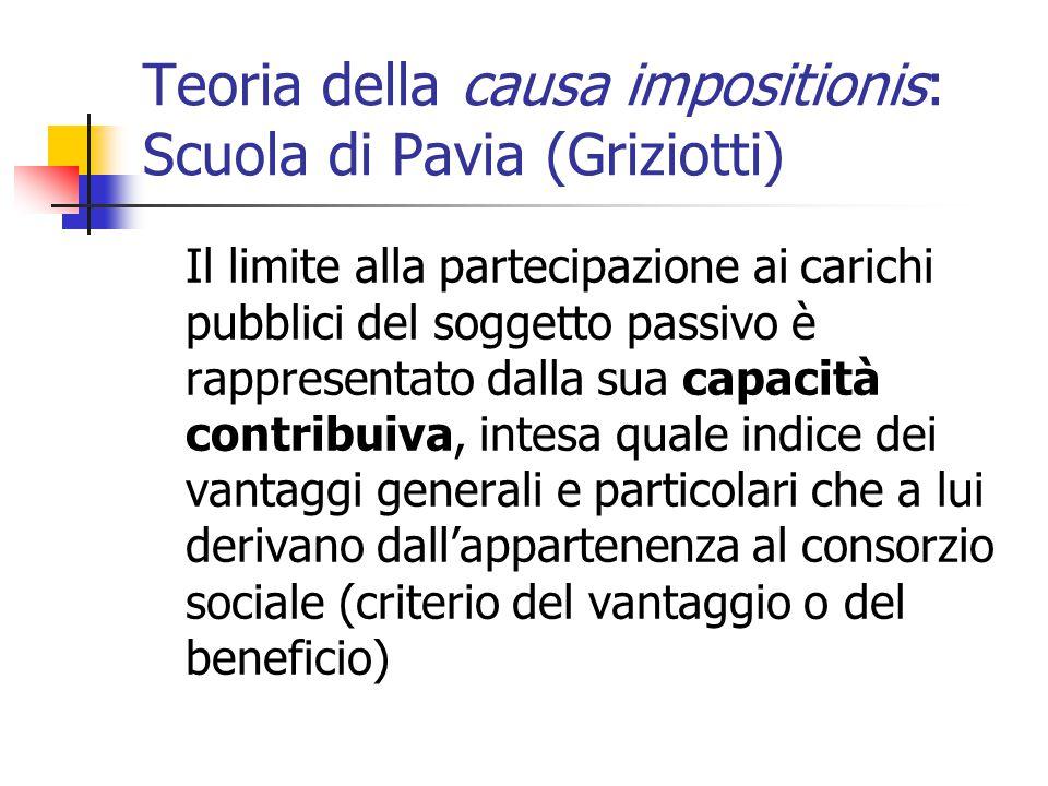 Teoria della causa impositionis: Scuola di Pavia (Griziotti) Il limite alla partecipazione ai carichi pubblici del soggetto passivo è rappresentato da
