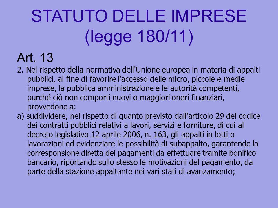 STATUTO DELLE IMPRESE (legge 180/11) Art. 13 2. Nel rispetto della normativa dell'Unione europea in materia di appalti pubblici, al fine di favorire l