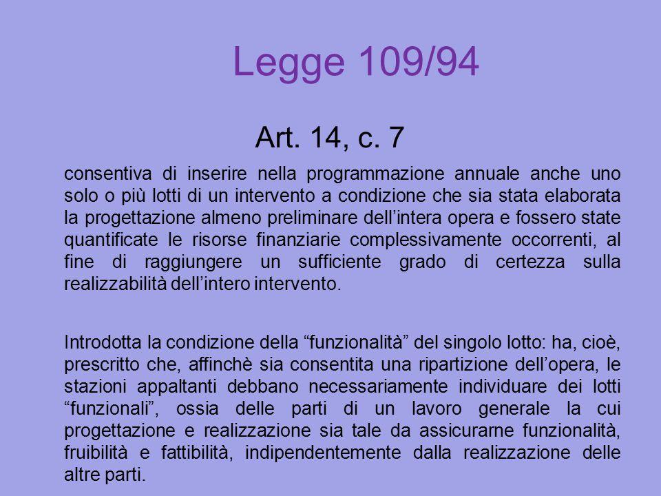 Legge 109/94 Art. 14, c. 7 consentiva di inserire nella programmazione annuale anche uno solo o più lotti di un intervento a condizione che sia stata