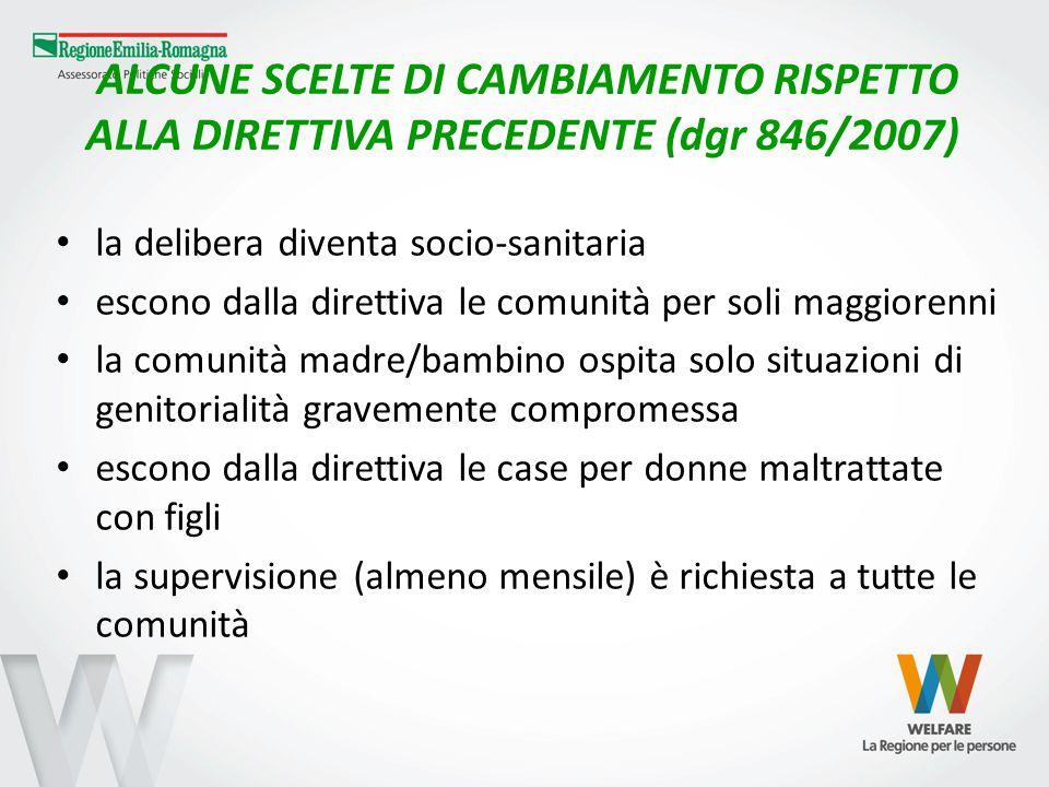 ALCUNE SCELTE DI CAMBIAMENTO RISPETTO ALLA DIRETTIVA PRECEDENTE (dgr 846/2007) la delibera diventa socio-sanitaria escono dalla direttiva le comunità