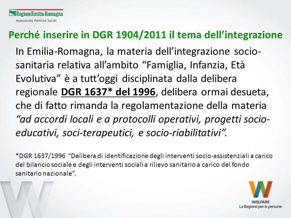 """Perché inserire in DGR 1904/2011 il tema dell'integrazione In Emilia-Romagna, la materia dell'integrazione socio- sanitaria relativa all'ambito """"Famig"""
