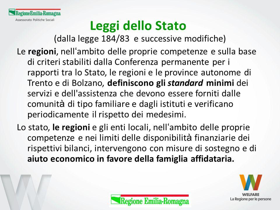 Leggi dello Stato (dalla legge 184/83 e successive modifiche) Le regioni, nell ' ambito delle proprie competenze e sulla base di criteri stabiliti dal