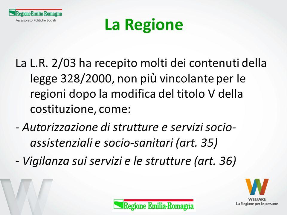La Regione La L.R. 2/03 ha recepito molti dei contenuti della legge 328/2000, non pi ù vincolante per le regioni dopo la modifica del titolo V della c