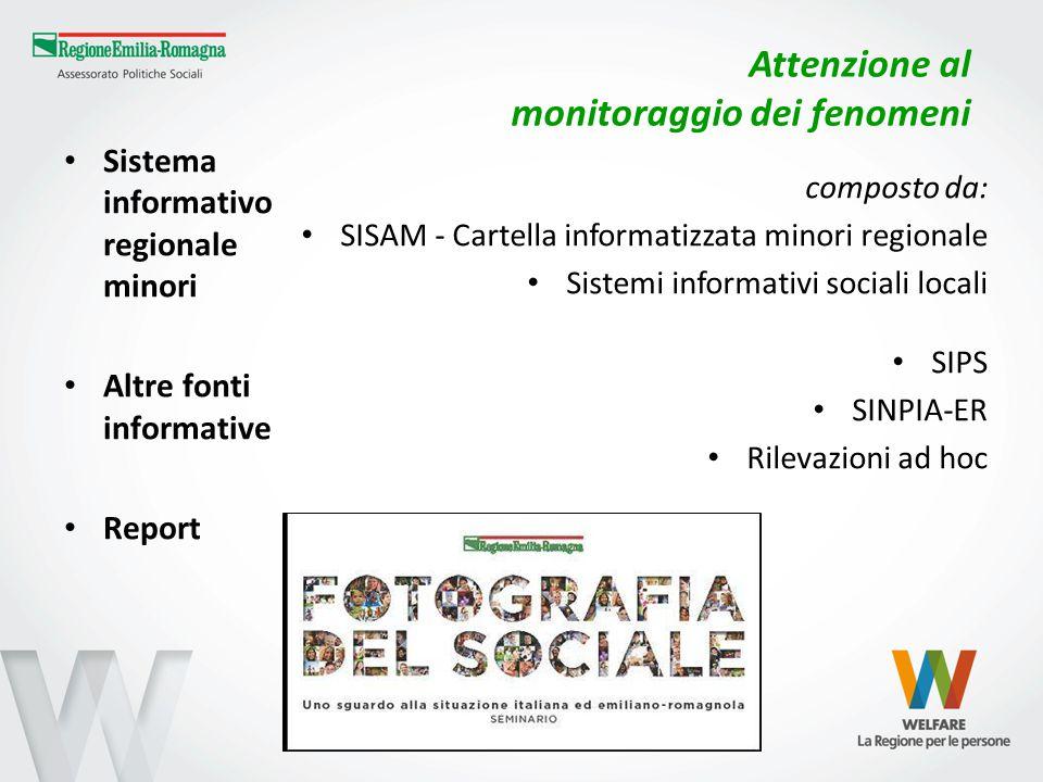 Attenzione al monitoraggio dei fenomeni Sistema informativo regionale minori Altre fonti informative Report composto da: SISAM - Cartella informatizza
