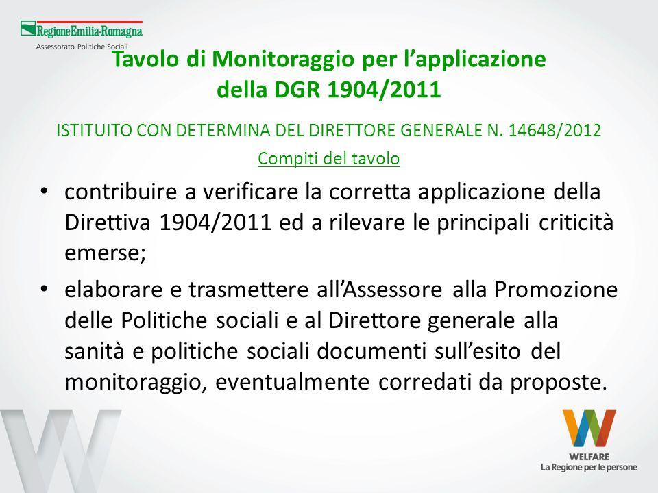 Tavolo di Monitoraggio per l'applicazione della DGR 1904/2011 ISTITUITO CON DETERMINA DEL DIRETTORE GENERALE N. 14648/2012 Compiti del tavolo contribu