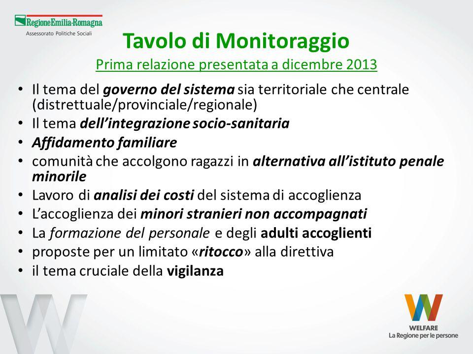 Tavolo di Monitoraggio Prima relazione presentata a dicembre 2013 Il tema del governo del sistema sia territoriale che centrale (distrettuale/provinci