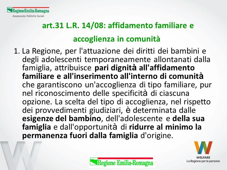 art.31 L.R. 14/08: affidamento familiare e accoglienza in comunità 1. La Regione, per l'attuazione dei diritti dei bambini e degli adolescenti tempora