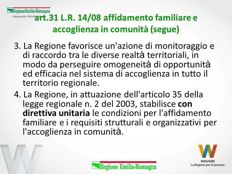 art.31 L.R. 14/08 affidamento familiare e accoglienza in comunità (segue) 3. La Regione favorisce un'azione di monitoraggio e di raccordo tra le diver