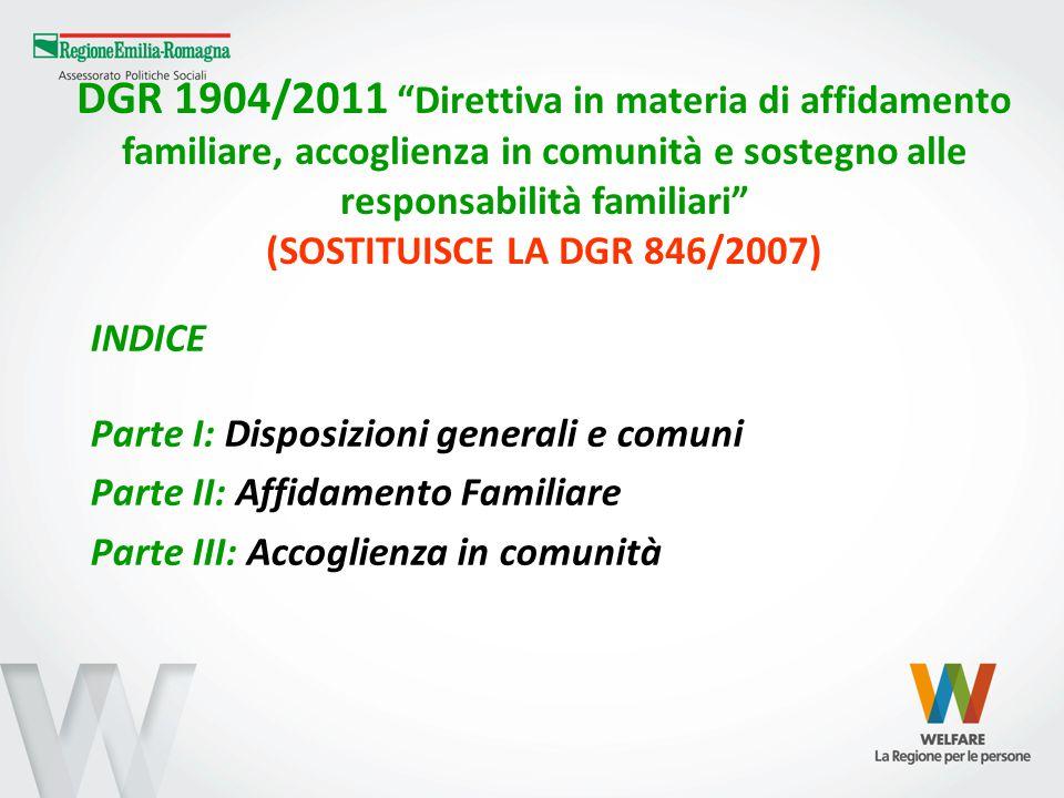 DGR 1904/2011 (segue) Direttiva in materia di affidamento familiare, accoglienza in comunità e sostegno alle responsabilità familiari CONTENUTI PRINCIPALI Centralità dei diritti del bambino (art.