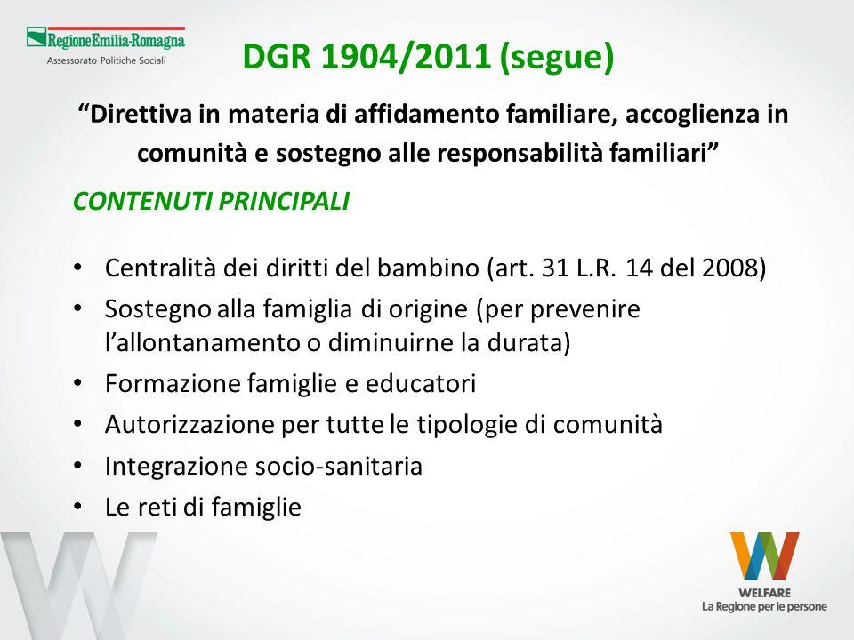 """DGR 1904/2011 (segue) """"Direttiva in materia di affidamento familiare, accoglienza in comunità e sostegno alle responsabilità familiari"""" CONTENUTI PRIN"""