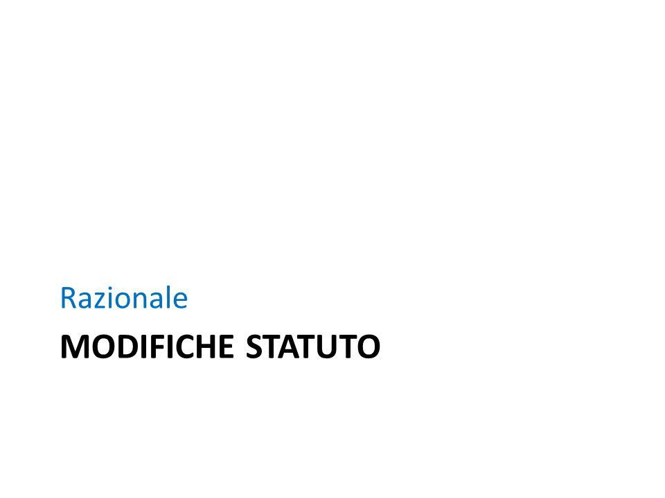 MODIFICHE STATUTO Razionale