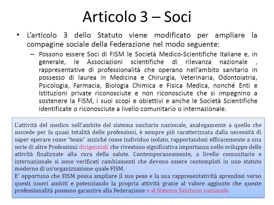 Articolo 3 – Soci L'articolo 3 dello Statuto viene modificato per ampliare la compagine sociale della Federazione nel modo seguente: – Possono essere