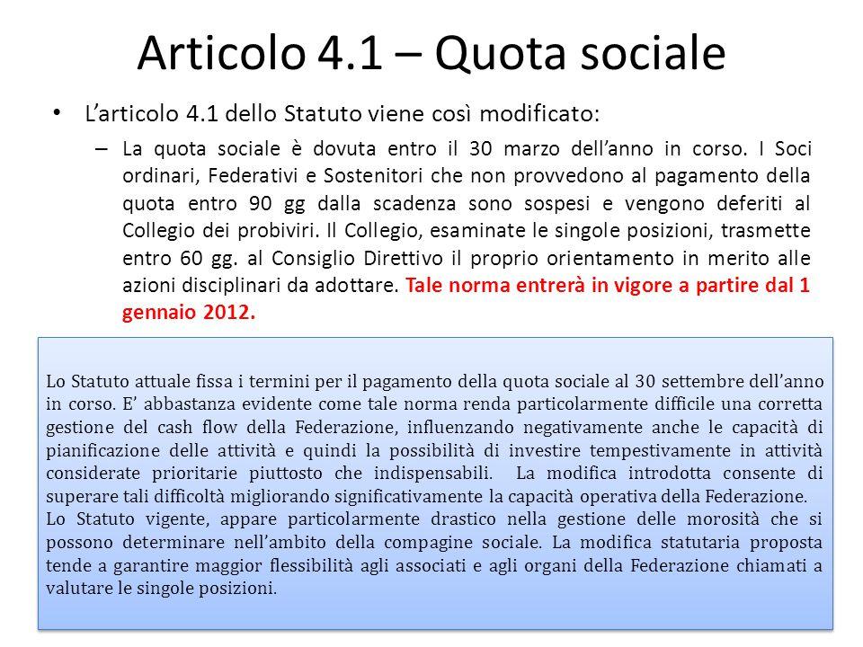 Articolo 4.1 – Quota sociale L'articolo 4.1 dello Statuto viene così modificato: – La quota sociale è dovuta entro il 30 marzo dell'anno in corso. I S
