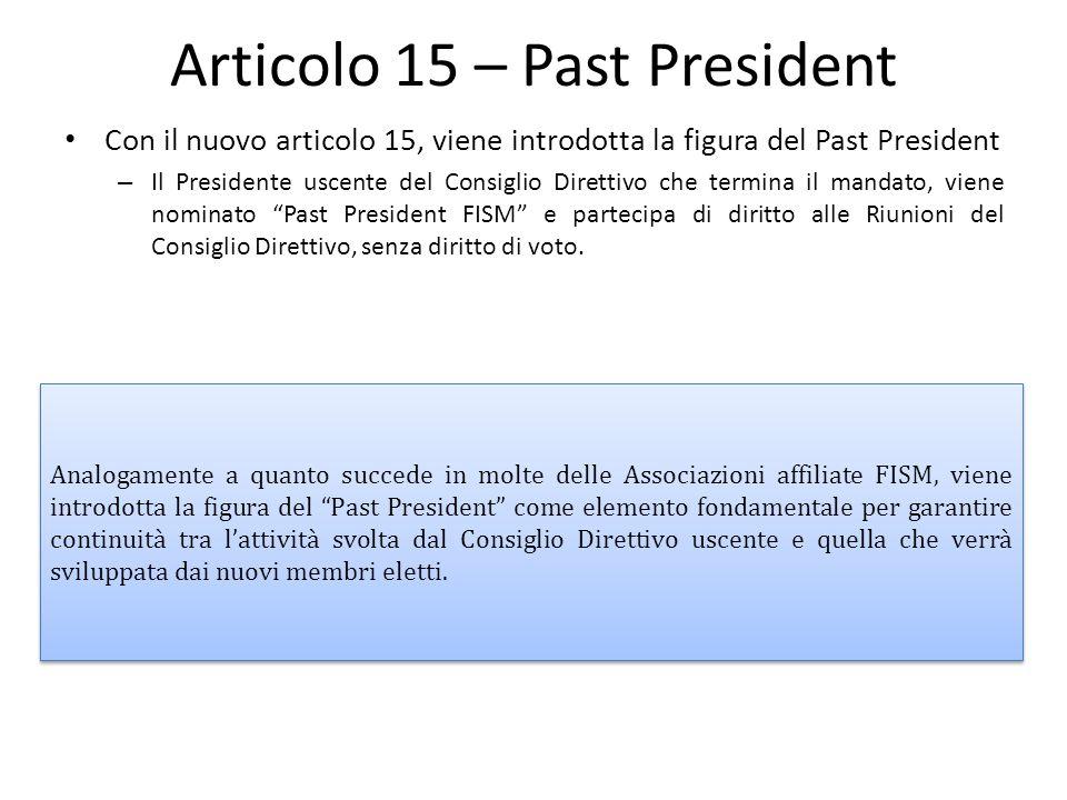 Articolo 15 – Past President Con il nuovo articolo 15, viene introdotta la figura del Past President – Il Presidente uscente del Consiglio Direttivo c