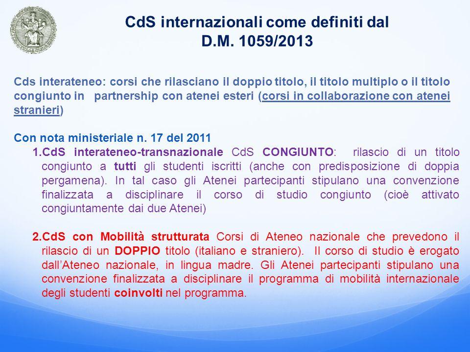 CdS internazionali come definiti dal D.M.