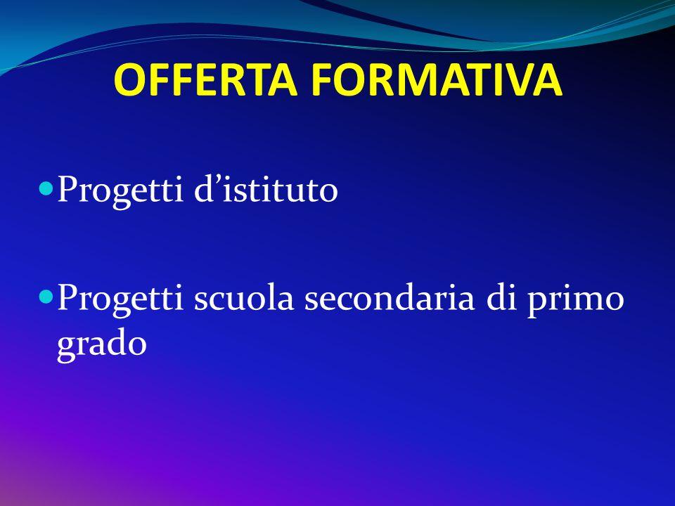 OFFERTA FORMATIVA Progetti d'istituto Progetti scuola secondaria di primo grado