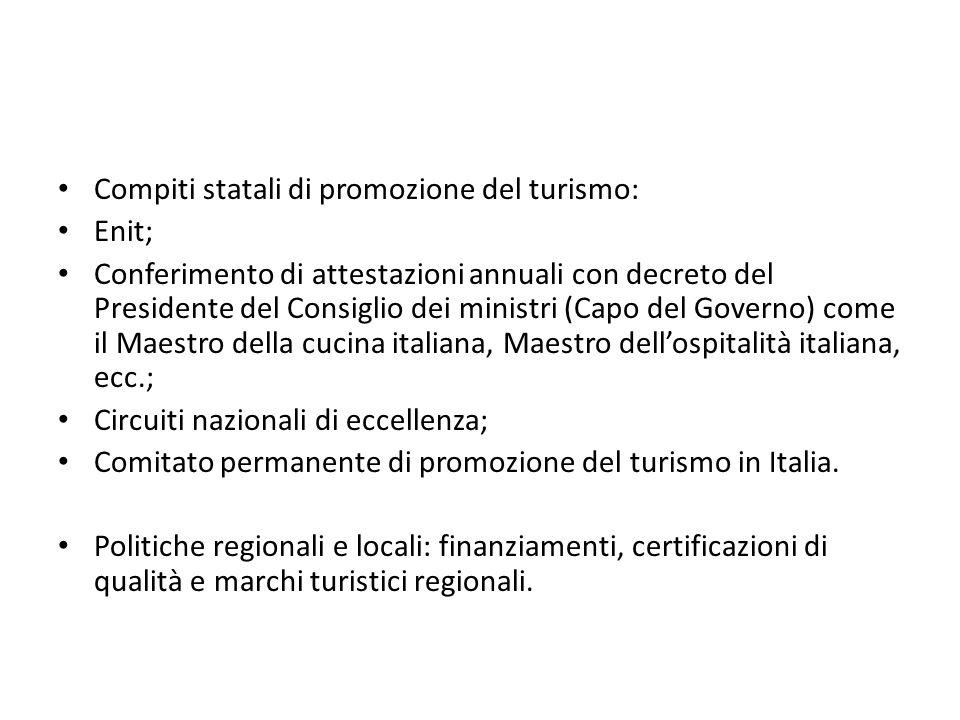 Compiti statali di promozione del turismo: Enit; Conferimento di attestazioni annuali con decreto del Presidente del Consiglio dei ministri (Capo del