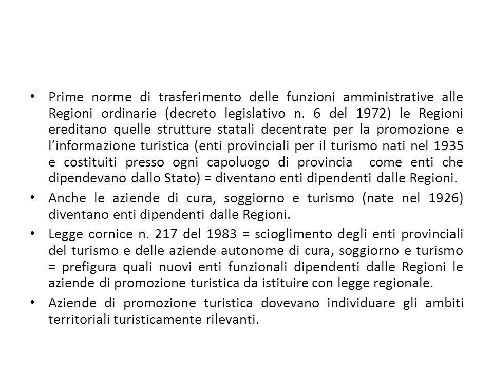 Prime norme di trasferimento delle funzioni amministrative alle Regioni ordinarie (decreto legislativo n. 6 del 1972) le Regioni ereditano quelle stru