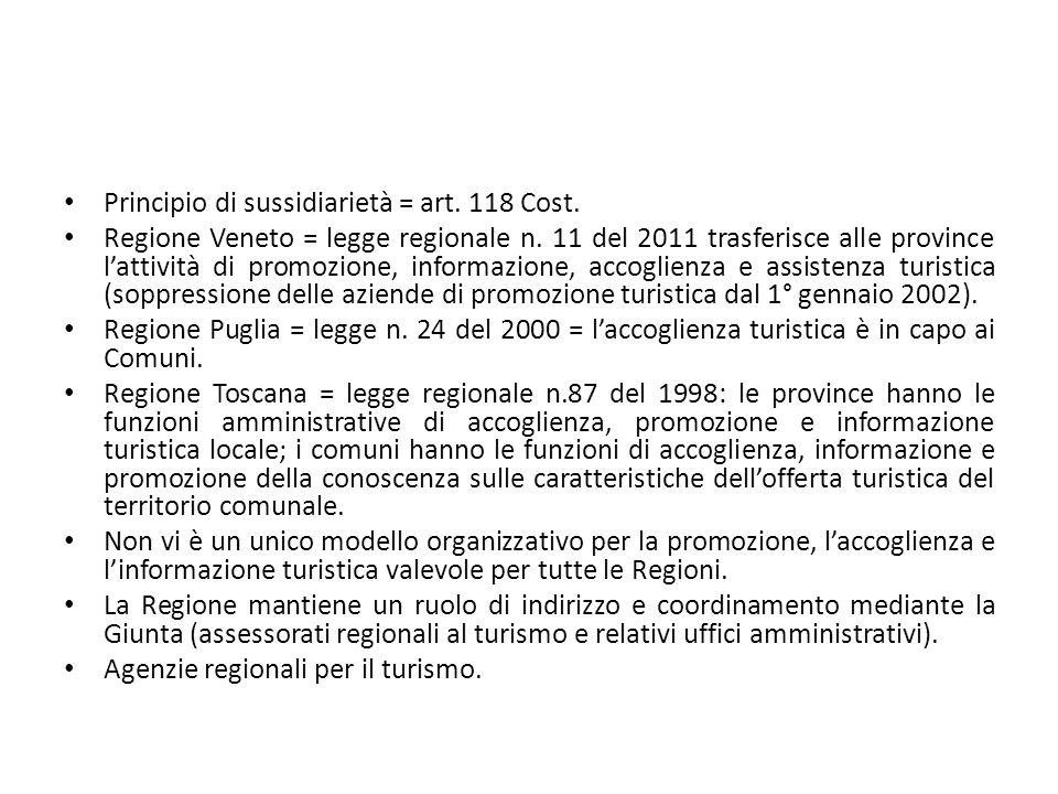 Principio di sussidiarietà = art. 118 Cost. Regione Veneto = legge regionale n. 11 del 2011 trasferisce alle province l'attività di promozione, inform