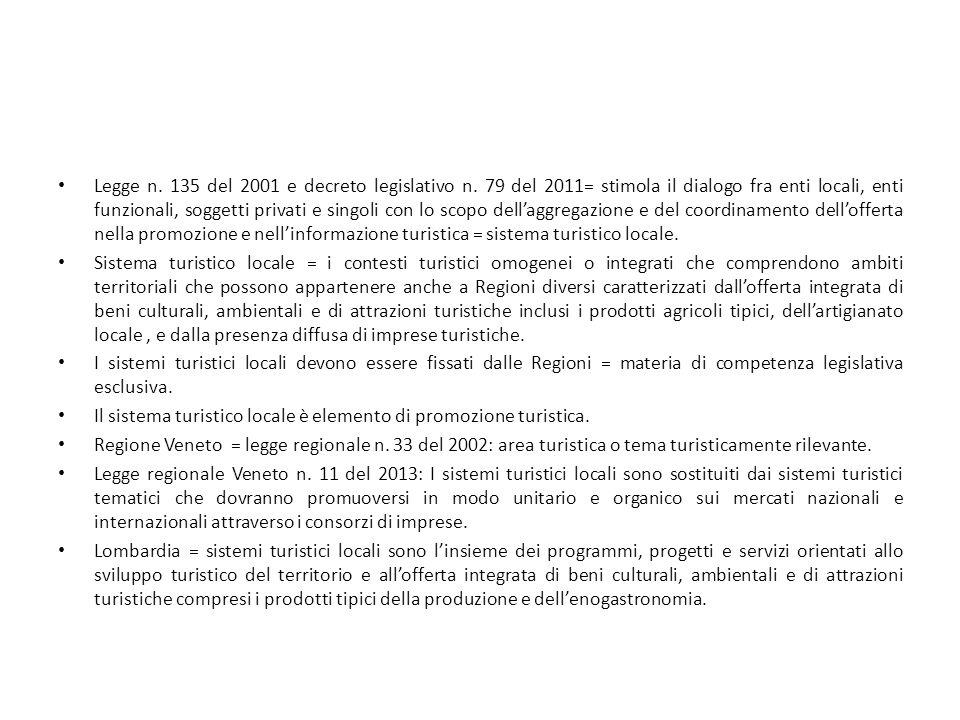 Legge n. 135 del 2001 e decreto legislativo n. 79 del 2011= stimola il dialogo fra enti locali, enti funzionali, soggetti privati e singoli con lo sco