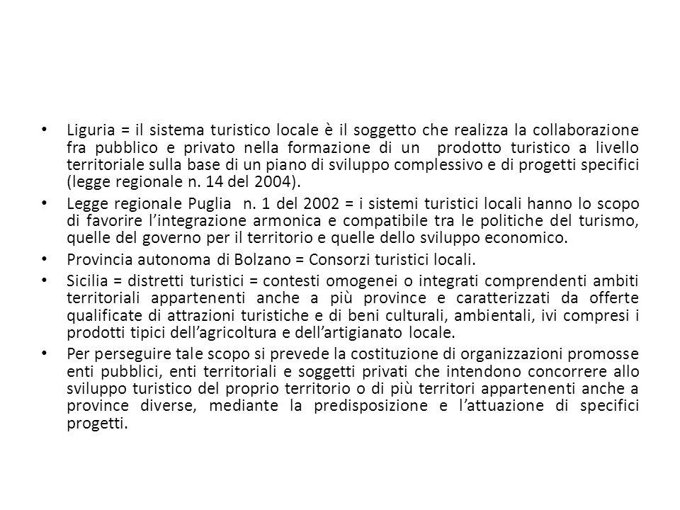 Liguria = il sistema turistico locale è il soggetto che realizza la collaborazione fra pubblico e privato nella formazione di un prodotto turistico a