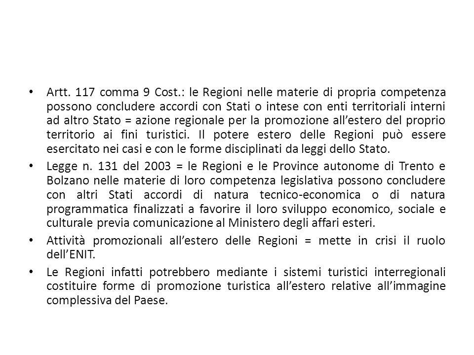 Artt. 117 comma 9 Cost.: le Regioni nelle materie di propria competenza possono concludere accordi con Stati o intese con enti territoriali interni ad