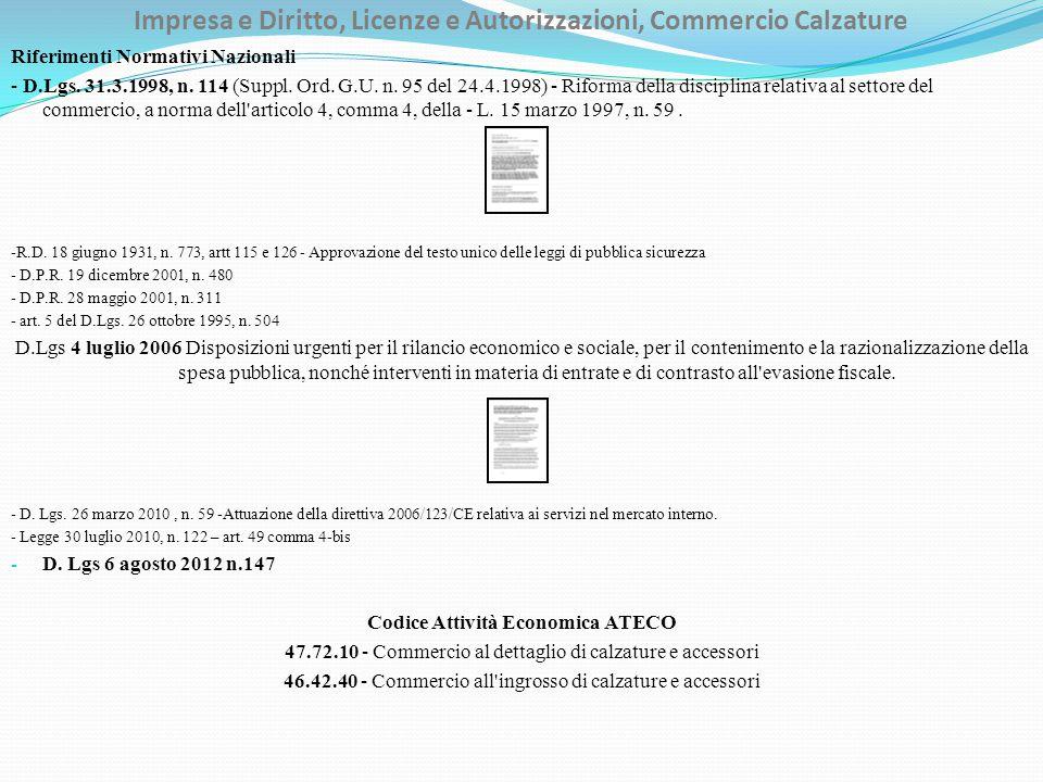 Impresa e Diritto, Licenze e Autorizzazioni, Commercio Calzature Riferimenti Normativi Nazionali - D.Lgs.