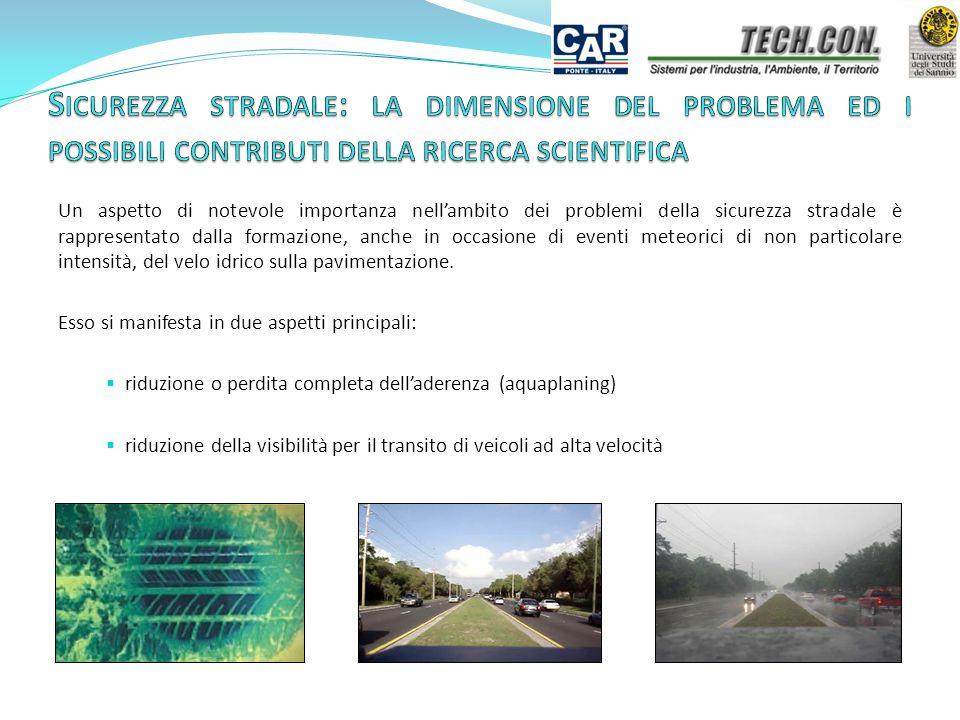 Un aspetto di notevole importanza nell'ambito dei problemi della sicurezza stradale è rappresentato dalla formazione, anche in occasione di eventi meteorici di non particolare intensità, del velo idrico sulla pavimentazione.
