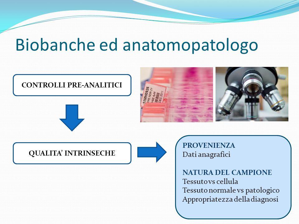 Biobanche ed anatomopatologo CONTROLLI PRE-ANALITICI QUALITA' INTRINSECHE PROVENIENZA Dati anagrafici NATURA DEL CAMPIONE Tessuto vs cellula Tessuto normale vs patologico Appropriatezza della diagnosi