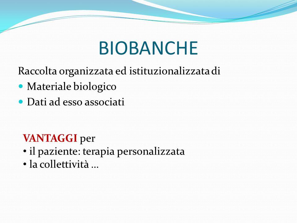 BIOBANCHE Raccolta organizzata ed istituzionalizzata di Materiale biologico Dati ad esso associati VANTAGGI per il paziente: terapia personalizzata la collettività …