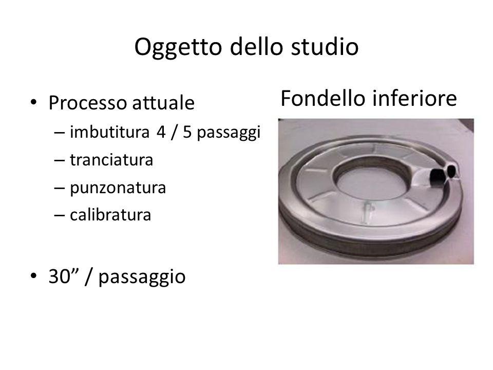 Oggetto dello studio Processo attuale – imbutitura 4 / 5 passaggi – tranciatura – punzonatura – calibratura 30 / passaggio Fondello inferiore