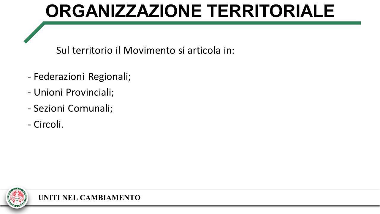 ORGANIZZAZIONE TERRITORIALE Sul territorio il Movimento si articola in: - Federazioni Regionali; - Unioni Provinciali; - Sezioni Comunali; - Circoli.