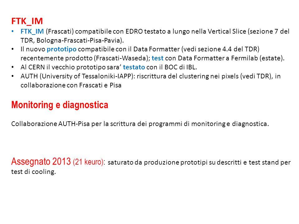 FTK_IM FTK_IM (Frascati) compatibile con EDRO testato a lungo nella Vertical Slice (sezione 7 del TDR, Bologna-Frascati-Pisa-Pavia).