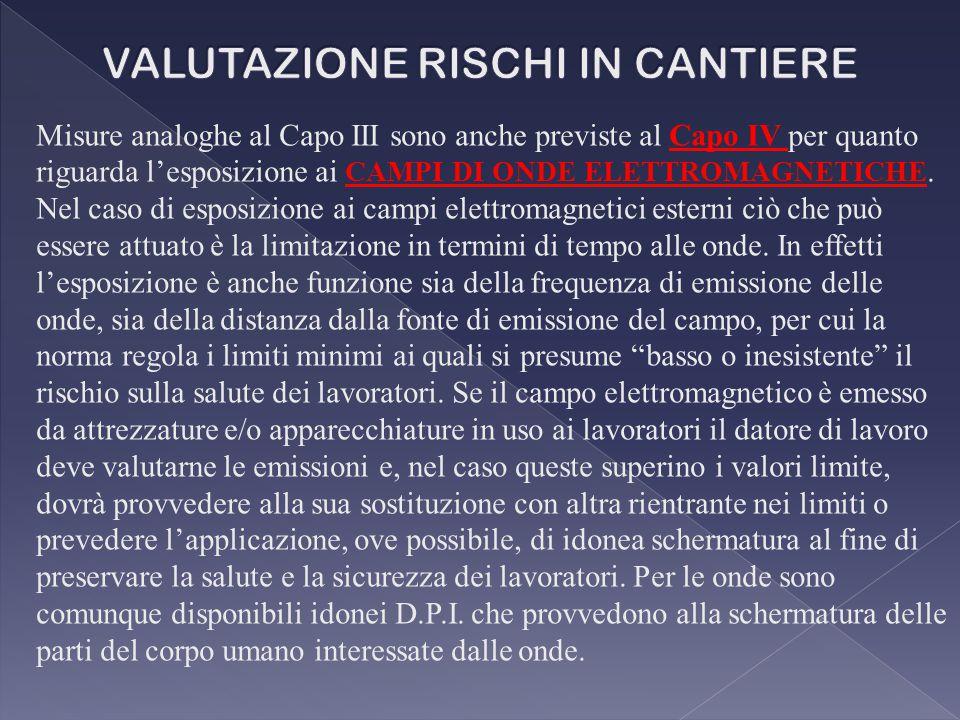 Misure analoghe al Capo III sono anche previste al Capo IV per quanto riguarda l'esposizione ai CAMPI DI ONDE ELETTROMAGNETICHE.