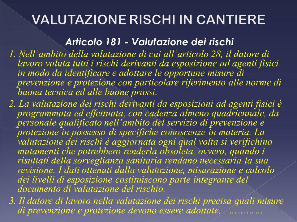 Articolo 181 - Valutazione dei rischi 1. Nell'ambito della valutazione di cui all'articolo 28, il datore di lavoro valuta tutti i rischi derivanti da