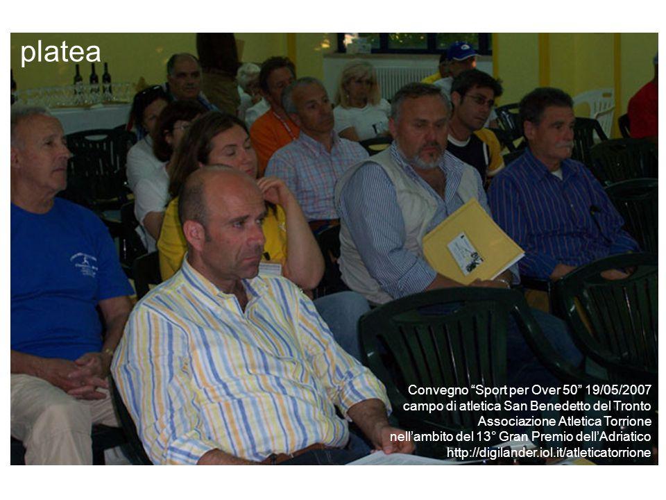 relatori Convegno Sport per Over 50 19/05/2007 campo di atletica San Benedetto del Tronto Associazione Atletica Torrione nell'ambito del 13° Gran Premio dell'Adriatico http://digilander.iol.it/atleticatorrione