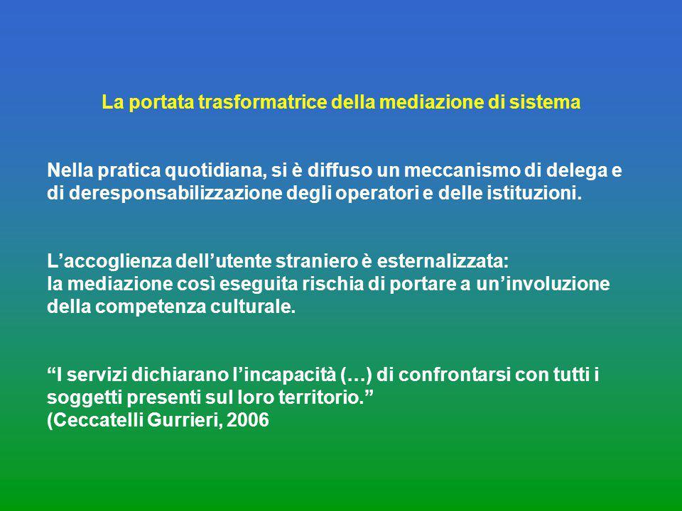 La portata trasformatrice della mediazione di sistema Nella pratica quotidiana, si è diffuso un meccanismo di delega e di deresponsabilizzazione degli