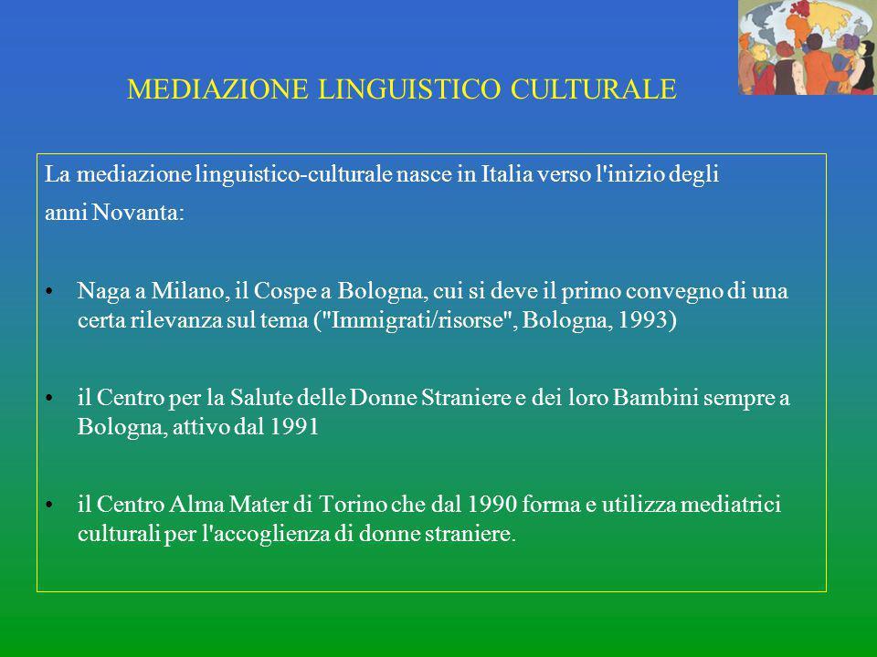 La mediazione linguistico-culturale nasce in Italia verso l'inizio degli anni Novanta: Naga a Milano, il Cospe a Bologna, cui si deve il primo convegn