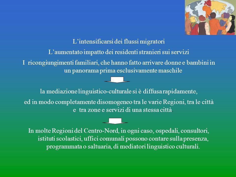 L'intensificarsi dei flussi migratori L'aumentato impatto dei residenti stranieri sui servizi I ricongiungimenti familiari, che hanno fatto arrivare d