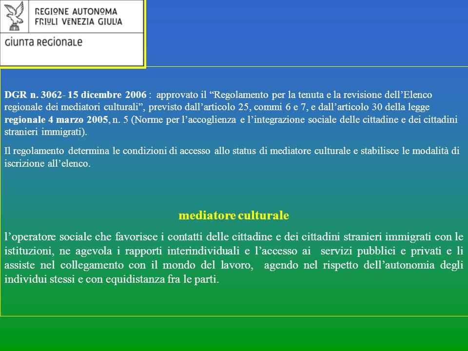 """DGR n. 3062- 15 dicembre 2006 : approvato il """"Regolamento per la tenuta e la revisione dell'Elenco regionale dei mediatori culturali"""", previsto dall'a"""