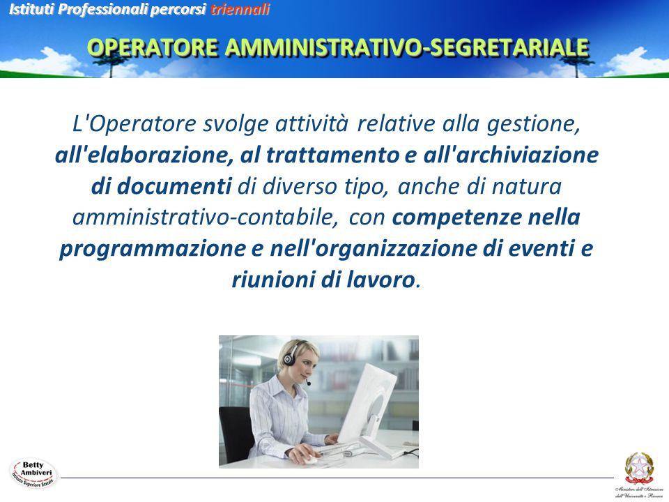 L Operatore svolge attività relative alla gestione, all elaborazione, al trattamento e all archiviazione di documenti di diverso tipo, anche di natura amministrativo-contabile, con competenze nella programmazione e nell organizzazione di eventi e riunioni di lavoro.