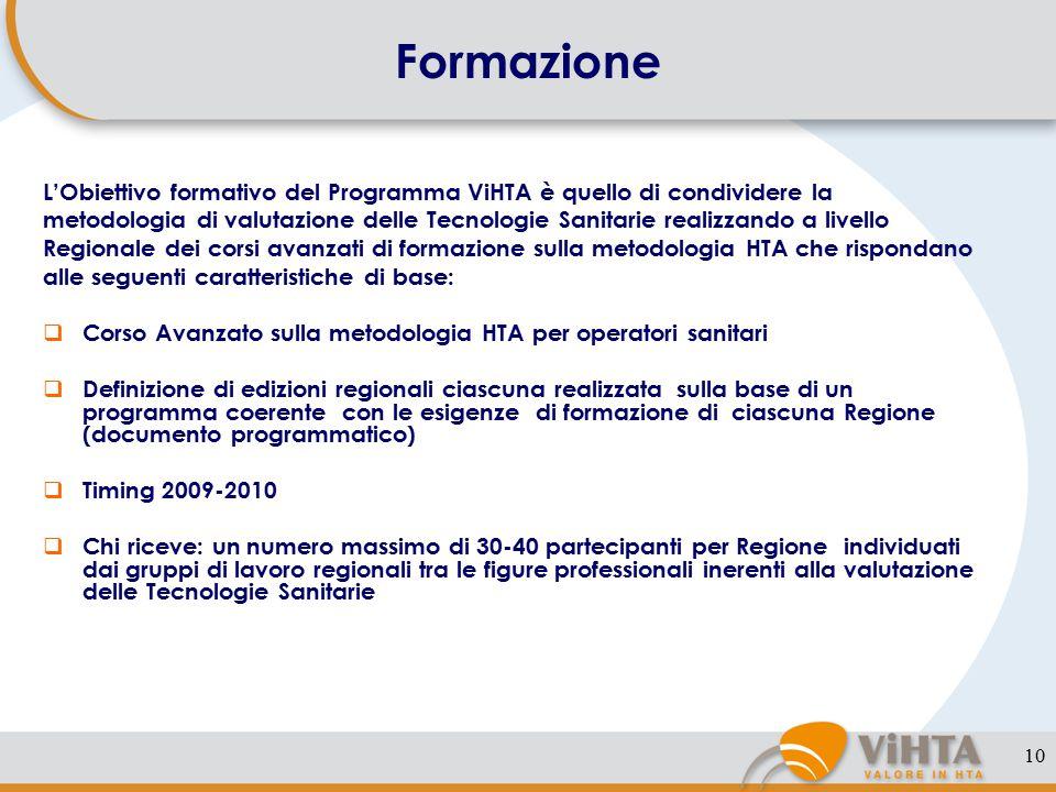 10 Formazione L'Obiettivo formativo del Programma ViHTA è quello di condividere la metodologia di valutazione delle Tecnologie Sanitarie realizzando a livello Regionale dei corsi avanzati di formazione sulla metodologia HTA che rispondano alle seguenti caratteristiche di base:  Corso Avanzato sulla metodologia HTA per operatori sanitari  Definizione di edizioni regionali ciascuna realizzata sulla base di un programma coerente con le esigenze di formazione di ciascuna Regione (documento programmatico)  Timing 2009-2010  Chi riceve: un numero massimo di 30-40 partecipanti per Regione individuati dai gruppi di lavoro regionali tra le figure professionali inerenti alla valutazione delle Tecnologie Sanitarie