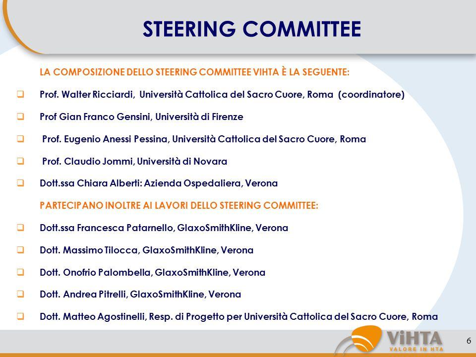 6 STEERING COMMITTEE LA COMPOSIZIONE DELLO STEERING COMMITTEE VIHTA È LA SEGUENTE:  Prof.