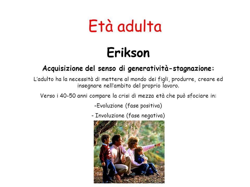 Età adulta Erikson Acquisizione del senso di generatività-stagnazione: L'adulto ha la necessità di mettere al mondo dei figli, produrre, creare ed ins